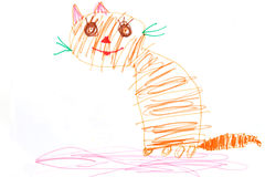 Ginger cat - childs drawing Royalty Free Stock Photography