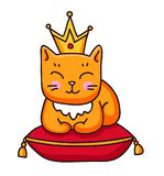 Ginger cat with crown sitting on royal pillow. stock illustration