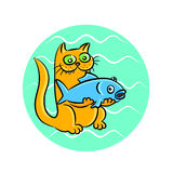 Ginger cat with fish vector illustration. Cartoon ginger cat with fish funny illustration Stock Photo