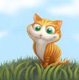 Ginger cat on green grass. Cartoon illustration. Ginger cat on green grass. Funny cheerful illustration. Cartoon orange kitten character Stock Photo