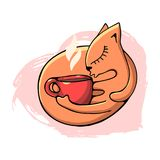 Ginger cat hugs a red cup of coffee or cocoa. Vector image of hand-drawn isolated on white background Stock Images