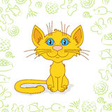 Ginger cat is sitting. Ginger cat with blue-green eyes and pattern with balls, bows, toys and food around Stock Image