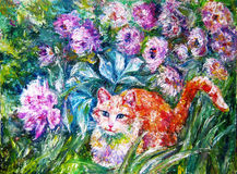 Ginger cat sitting on the grass Beautiful flowers swaying in the Royalty Free Stock Photos