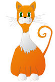 The ginger cat sitting, isolated on white background, illustration. The ginger cat with white neck and paws sitting, isolated on white background, illustration royalty free illustration