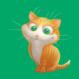 Ginger cat sitting and smiling. Cartoon illustration. Ginger cat sitting and smiling. Funny cheerful illustration. Cartoon orange kitten character on reen Royalty Free Stock Photography