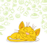 Ginger cat is sleeping. Ginger cat with blue-green eyes and pattern with balls, bows, toys and food around Stock Photos