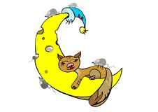 Ginger cat sleeping on the moon Stock Photo
