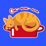 Ginger cat is sleeping on a red saucepan. Vector sticker with a funny animal. Illustration with dreaming about tasty food kitten. royalty free illustration