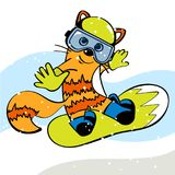 Ginger Cat on Snowboard. Snowboarder. Vector illustration Stock Photos