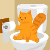 Ginger cat on toilet cartoon vector illustration. Ginger cat on the toilet. Funny colorful hand drawn cartoon vector illustration Stock Photo
