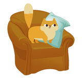 Ginger cat vector. Funny plump cat in the big armchair Stock Photos