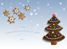 Ginger chocolate tree on snow background Stock Image