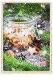 Ginger Christmas Cookies Stars in Kruik Royalty-vrije Stock Foto's