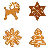 Ginger Christmas Cookies, Vector Illustration Stock Images
