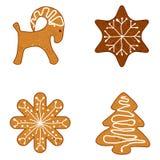 Ginger Christmas Cookies, Vectorillustratie Stock Afbeeldingen