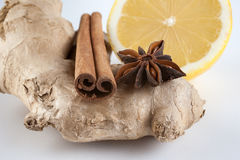 Ginger, cinnamon, star anise and lemon on white background Stock Photos