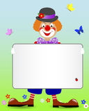 Ginger clown with a banner. Ginger clown with a blank banner and butterflies. Vector illustration Royalty Free Stock Photography