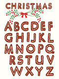 Ginger cookie alphabet. With christmas design element royalty free illustration