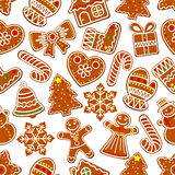 Ginger cookie Christmas dessert seamless pattern Royalty Free Stock Photography
