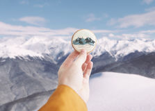 Ginger cookie with mountains print. Stock Photography