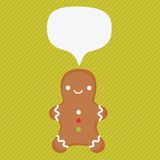 Ginger cookie with speech bubble Royalty Free Stock Photo