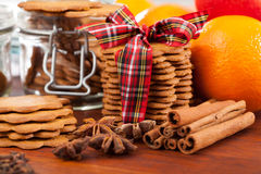 Ginger cookies and cinnamon Royalty Free Stock Photography