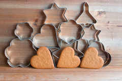 Ginger cookies. Closeup of ginger cookies on wooden background Stock Photos