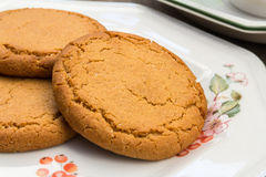 Ginger Cookies With a Cup of Tea. Ginger Cookies on a Floral plate with a cup and saucer in the background Royalty Free Stock Photography