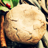 Ginger Cookies Dough and species. Ginger Cookies Dough, holly ilex and species close up stock images