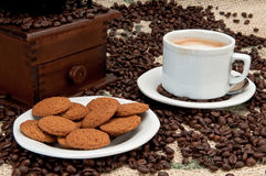 Ginger cookies and espresso coffee Stock Photos