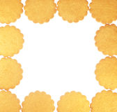 Ginger cookies frame isolated on white Royalty Free Stock Photos