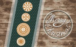 Ginger cookies on a green napkin. Christmas greeting vector illustration with a wooden background. Stock Photography