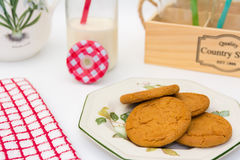 Ginger Cookies and Milk Jug. A display of Ginger Cookies and a small Bottle and Jug of Milk Stock Photo