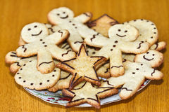 Ginger cookies on a plate. Christmas ginger cookies on a plate Royalty Free Stock Photography