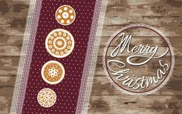 Ginger cookies on a red napkin with a wooden background. Christmas greeting card. Festive vector illustration. Royalty Free Stock Photos