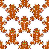Ginger cookies seamless pattern. Background for christmas design Stock Photo