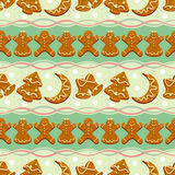 Ginger cookies seamless pattern Royalty Free Stock Image