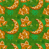 Ginger cookies seamless pattern Royalty Free Stock Photography
