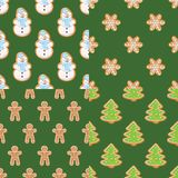 Ginger cookies seamless patterns. Christmas and new year backgrounds set collection. Set collections of Christmas gingerbread seamless patterns. Ginger cookies Stock Photography