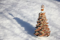 Ginger cookies in the shape of a christmas tree on snow Royalty Free Stock Photos