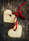 Ginger cookies in the shape of hearts. Royalty Free Stock Photography