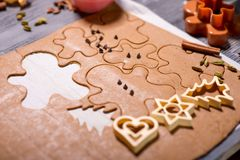 Ginger cookies shapes on Christmas Stock Photography