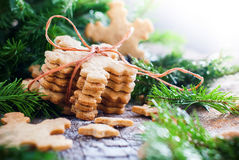 Ginger Cookies Snowflakes in Christmas Composition Stock Photos