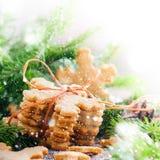 Ginger Cookies Snowflakes ha legato da una corda Neve tirata Fotografia Stock
