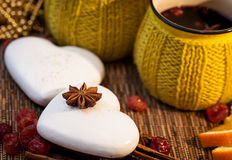 Ginger cookies and star spices with hot wine Stock Photography