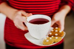 Ginger cookies and tea Stock Photos
