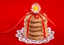 Ginger cookies tied with red ribbon Stock Images