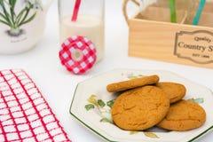 Ginger Cookies und Milchkrug Stockfoto