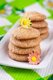 Ginger cookies on white plate Royalty Free Stock Photos