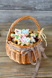 Ginger cookies in a wicker basket Royalty Free Stock Photo